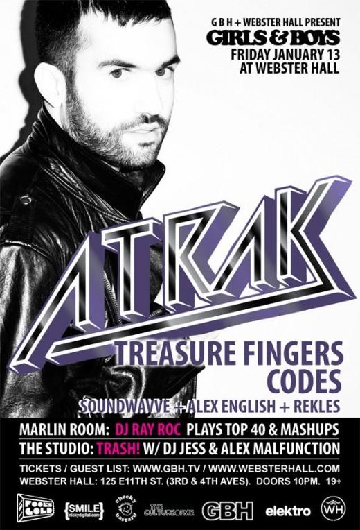 A-TRAK Treasure Fingers Codes Friday January 13 at Webster Hall girls & boys