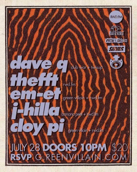 SAT: RWD.FM showcase: Dave Q, Thefft, Em-Et, J-Hilla, Cloy Pi [10PM/$20]