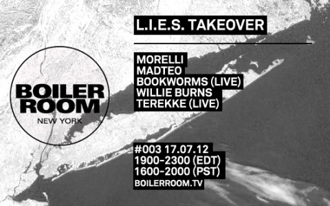 TUES: BOILER ROOM NYC 003: Morelli, Madteo, Bookworms (LIVE), Willie Burns, Terekke (LIVE) [7PM]